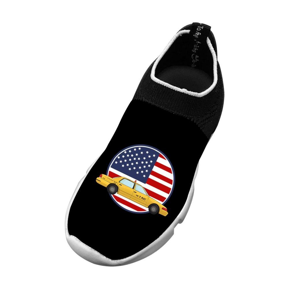 M Sports Flywire Weaving Casual Shoes For Unisex Child Print Taxi Flag 4 B Us Big Kid