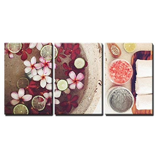 "wall26 - 3 Piece Canvas Wall Art - Foot Bath in Bowl with Lime and Tropical Flowers, Spa Pedicure Treatment, Top View - Modern Home Art Stretched and Framed Ready to Hang - 16""x24""x3 Panels"
