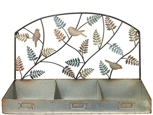 3 Bin Spice Rack - Rustic Galvanized Metal Wall Rack with Bird and Leaf Ornaments