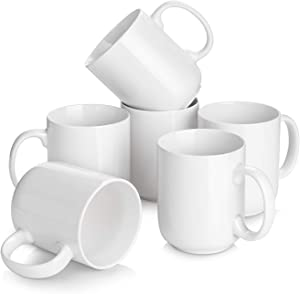 DOWAN White Coffee Mugs Set of 6 - 20 Ounce Large Coffee Mugs, Coffee Cups for Cappuccino, Latte, Tea, White