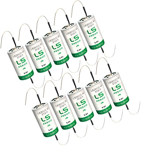 10x SAFT LS26500_AX Size C 3.6V 7700mAh Primary Lithium Cell for Xeno and more by Exell Battery
