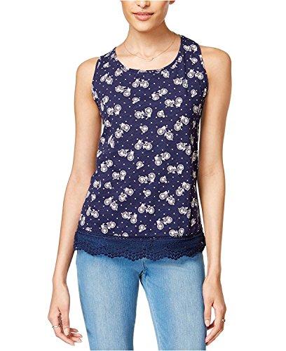 Maison Jules Cotton Floral-Print Crochet-Trim Tank Top Blue Notte Combo (Crochet Trim Cami)