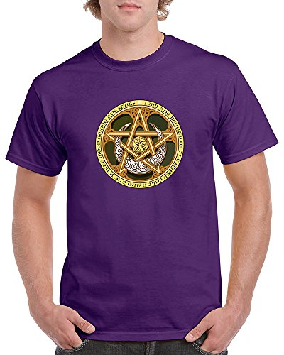 (Men's and Women's T-Shirt With Celtic Knots, Pentagram, and Samhain Triple Spiral. (3XLarge,)