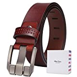 BISON DENIM Men's Leather Dress Belt Classic Business Strap with Gift Box Brown125cm