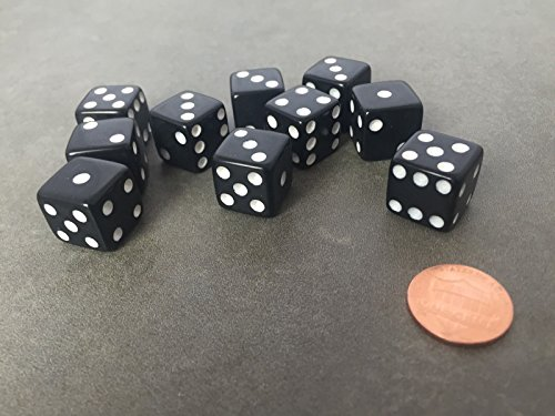 Set of 10 Six Sided D6 16mm Standard Dice Die - Black with White Pips Black & White Dice