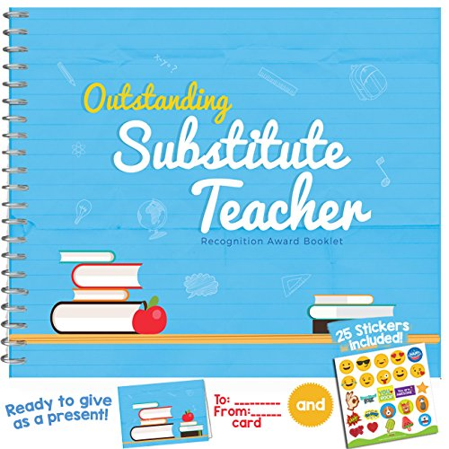 SUBSTITUTE TEACHER GIFTS - Recognition Award for the Best Sub Teacher | Unique booklet with quotes, stickers and frames to add pictures | For your supply teacher, emergency teacher or guest (Journal Booklet Music)