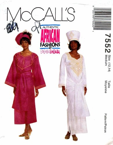 Amazon McCall's 60 Sewing Pattern African Dress Top Skirt Hat Interesting African Dress Patterns For Sewing