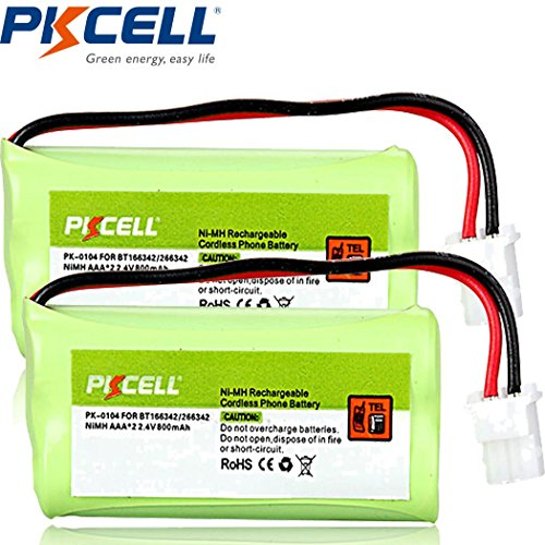 Cordless Home Phone Battery Pack AAA 2.4v 800mah Compatible with VTech BT166342 BT266342 (2pc)