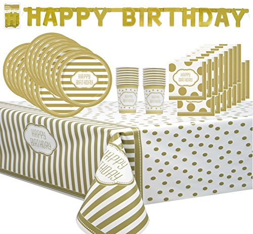 Golden Gold Birthday Party Supply Bundle Pack serves 16 -