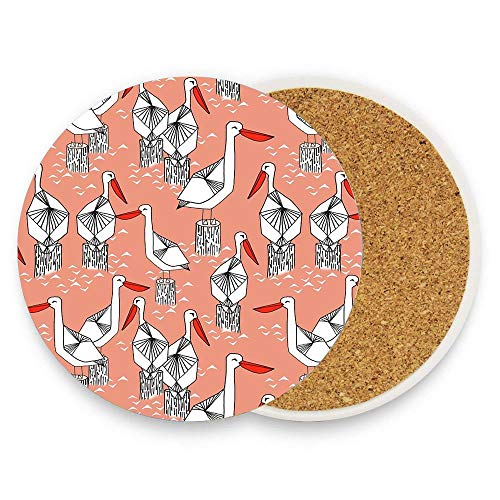 Koperororo Koperororo Pelicans By Andrea Lauren Round Ceramic Stone Coaster Mug Coffee Cup Mat Home Coaster for Hot & Cold Drinks Pack Of ()
