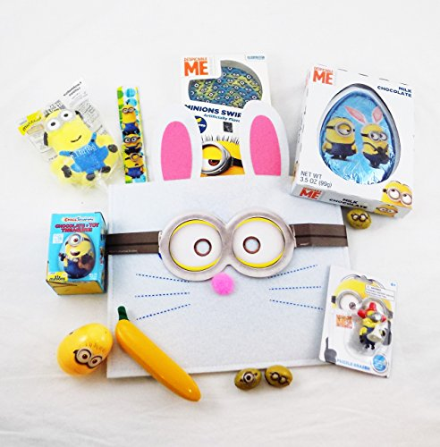 Despicable Me Minions Easter Bunny Candy and Toy Gift Basket with Chocolate Egg