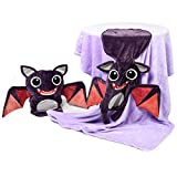 Senmiya Bat Blanket Stuffed Animal Cute Throw Blanket Fuzzy Cuddle Pillow Pet Navy Blue Travel Nap Blanket, Packable, Plush, Portable Back Buddy Pillow for Kids