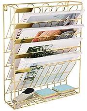 Organizador de archivos para colgar en la pared, revistero de revista, libro de papel, oficina en casa, soporte de biblioteca, revista, organizador de archivos, color dorado