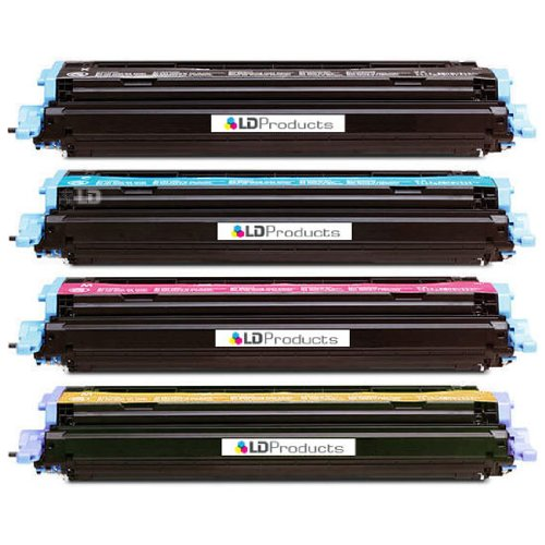 LD Remanufactured Replacement Laser Toner Cartridges for HP Color LaserJet 1600/2600: 1 Black Q6000A, 1 Cyan Q6001A, 1 Magenta Q6003A and 1 Yellow Q6002A Q6001a Cyan Laser Toner