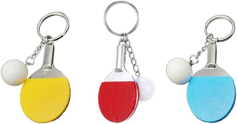 Toyvian Mini Tenis de Mesa Llavero Ping Pong Llavero Elegante Llavero para Coche Bolso Colgante Colgante Monedero Adorno Colgante para Niñas Niños Jugando 3 Piezas (Color Aleatorio)