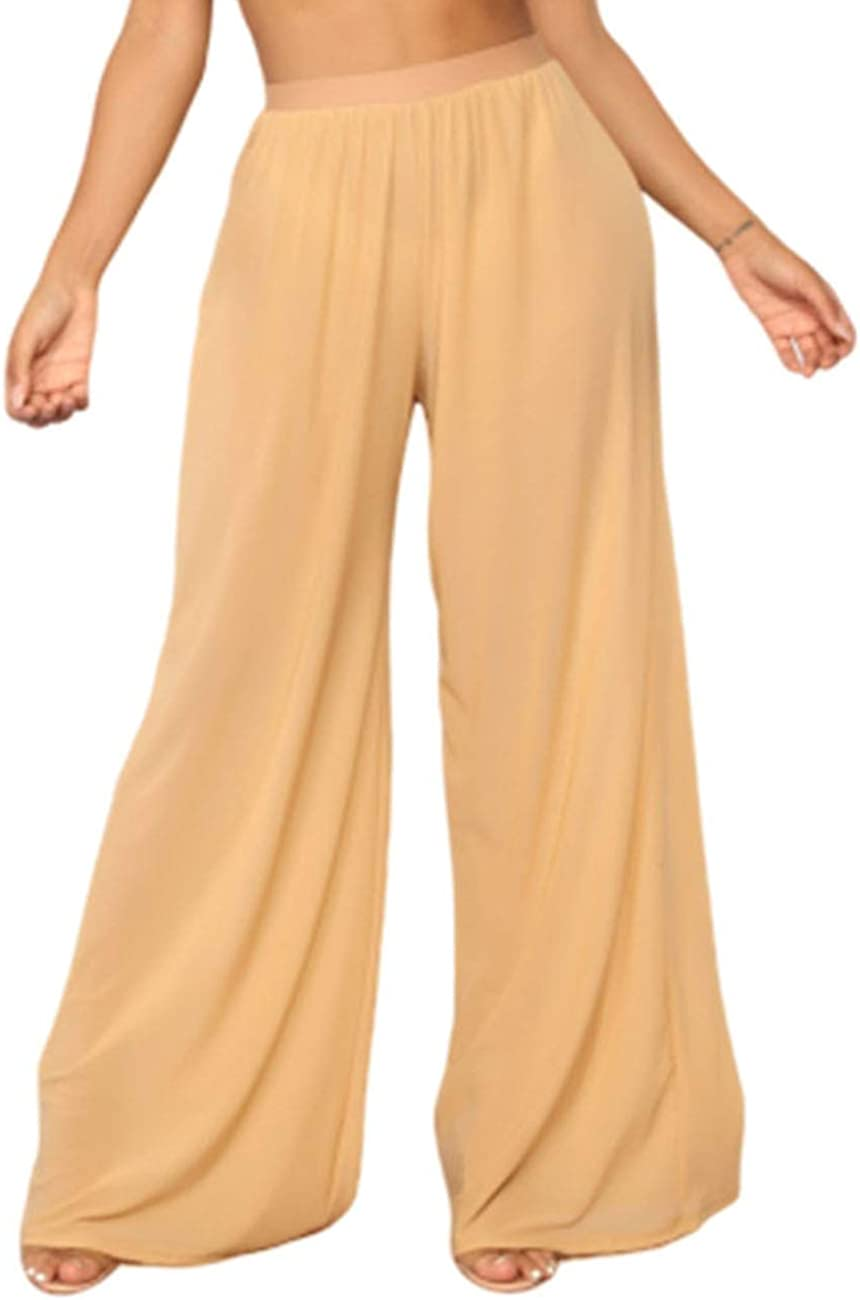 Doqcey Womens Perspective Sheer Mesh Ruffle Pants Swimsuit Bikini Bottom Cover up