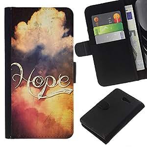 EJOY---La carpeta del tirón la caja de cuero de alta calidad de la PU Caso protector / Sony Xperia M2 / --BIBLIA Esperanza