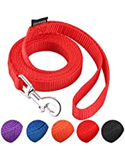 """AMAGOOD 6 FT Puppy/Dog Leash, Strong and Durable Traditional Style Leash with Easy to Use Collar Hook,3/8"""" 5/8"""" 3/4"""" 1"""" Dog Lead Great for Small and Medium and Large Dog(Purple,Blue,Black,Red,Orange)"""