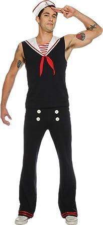 Mens Deckhand Sailor Costume (Small) Chest 34u0026quot;-36u0026quot; ...  sc 1 st  Amazon.com & Amazon.com: Retro Sailor Costume Mens Adult USA Marine Navy Village ...