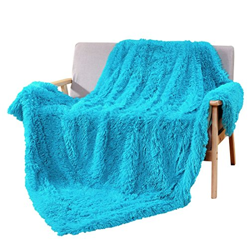 "Decosy Super Soft Faux Fur Couch Throw Blanket Aqua Blue 60""x 70"" - Reversible Fleece Flannel Shaggy TV Blanket for Sofa Chair Bed - All Season Quilt Comforter - Christmas Gift in Winter"