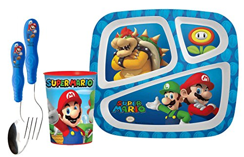 Zak! Designs Mealtime Set: Divided Plate, Tumbler Cup, Fork & Spoon Set Featuring Super Mario Brothers Graphics! BPA-free, 4-Piece Set (Super Mario Brothers Cups compare prices)