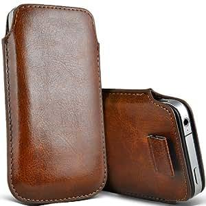 Nokia Lumia 700 premium protección PU ficha de extracción Slip Cord En cubierta de bolsa Pocket Skin Case Brown por Spyrox