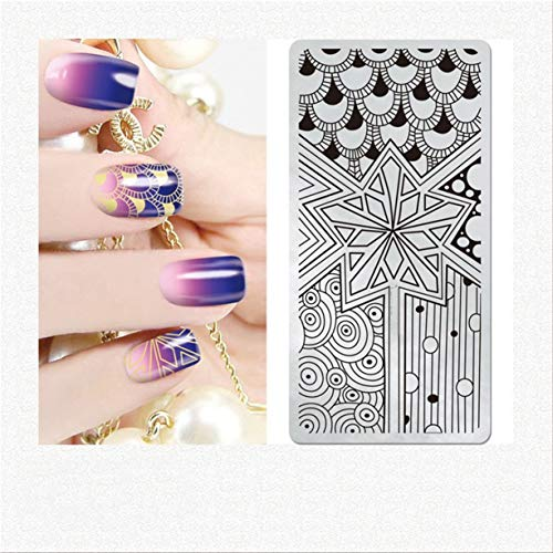 1 Pcs Flower Leaves Origami Lace Nail Stamper Gorgeous Popular Nails Art Stamps Plates Scraper Tools Clear Gel Marble Design Halloween Set, Type-01 -