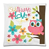 Cute Owl, Owl Always Love You Cushion Case - Decorative Square Throw Cushion Pillow Case Pillow Shell - 18x18 inches, One-Sided Print 45cm