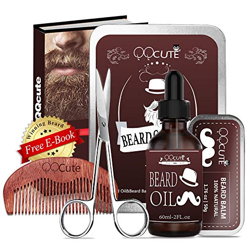 Beard Care Kit & Set for Men Birthday Gifts & Presents, Leave in Beard Conditioner, Beard Growth Butter, Mustache Wax & Softener, Wooden Comb, Barber Scissors Gift Set for Beard and Mustache Styling (Best Beard Trimmer Reviews 2019)