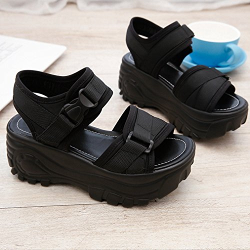 Womens Breathable Wedge Walking Black Slip Platform Casual Sandals Comfy Ladies JULY T Dress Summer Beach on Slipppers Fashion PTxwI57q