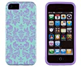 DandyCase 2in1 Hybrid High Impact Hard Sea Green Flower Pattern + Purple Silicone Case Cover For Apple iPhone 5S & iPhone 5 (not 5C) + DandyCase Screen Cleaner