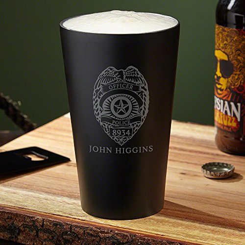 Police Badge Engraved Stainless Steel Pint Glass (Customizable Product)