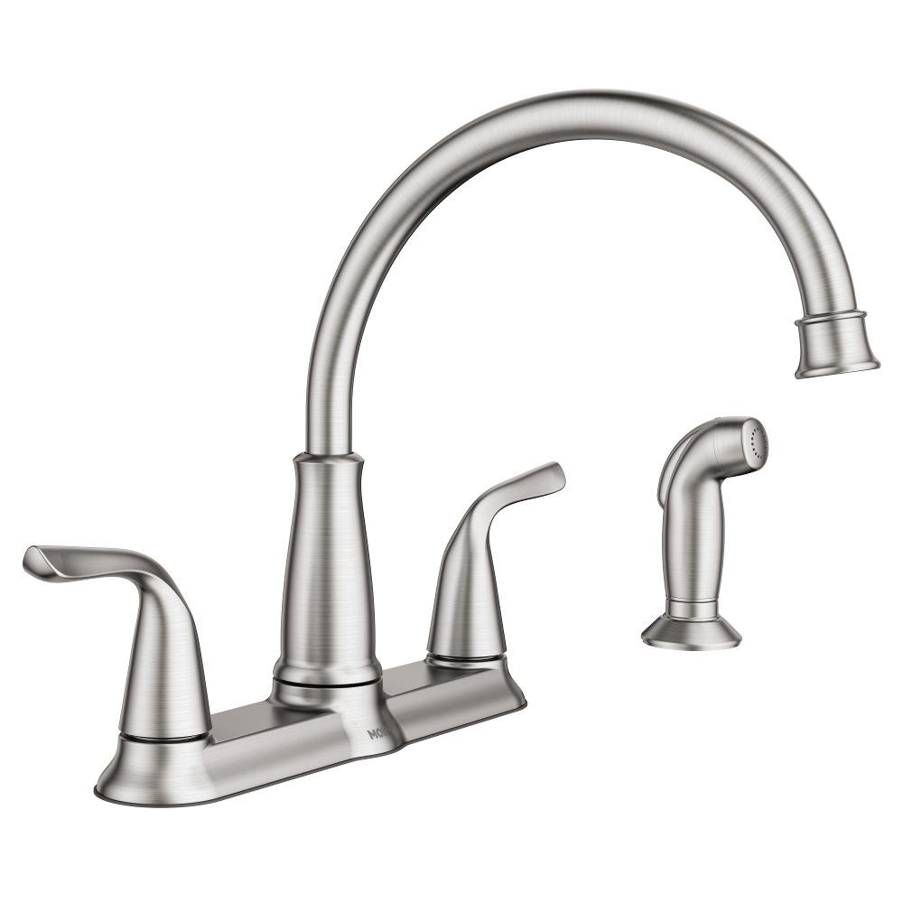 MOEN Brecklyn 2-Handle Standard Kitchen Faucet with Side Sprayer in Spot Resist Stainless