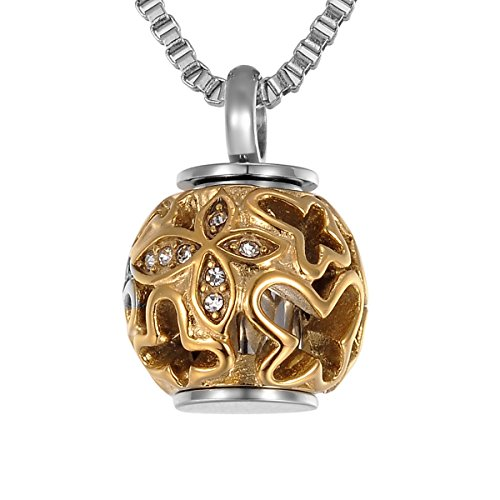 Valyria Cremation Jewelry Urn Pendant Necklace with Hollow Diamond Butterfly Beads Engraved 'Always in My Heart',Rose Gold