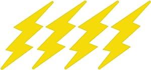"StickerDad Lightning Bolts 4 Pack - Size: 3"" Long, Color: Reflective Yellow - Helmet, Windows, Walls, Bumpers, Laptop, Lockers, etc."