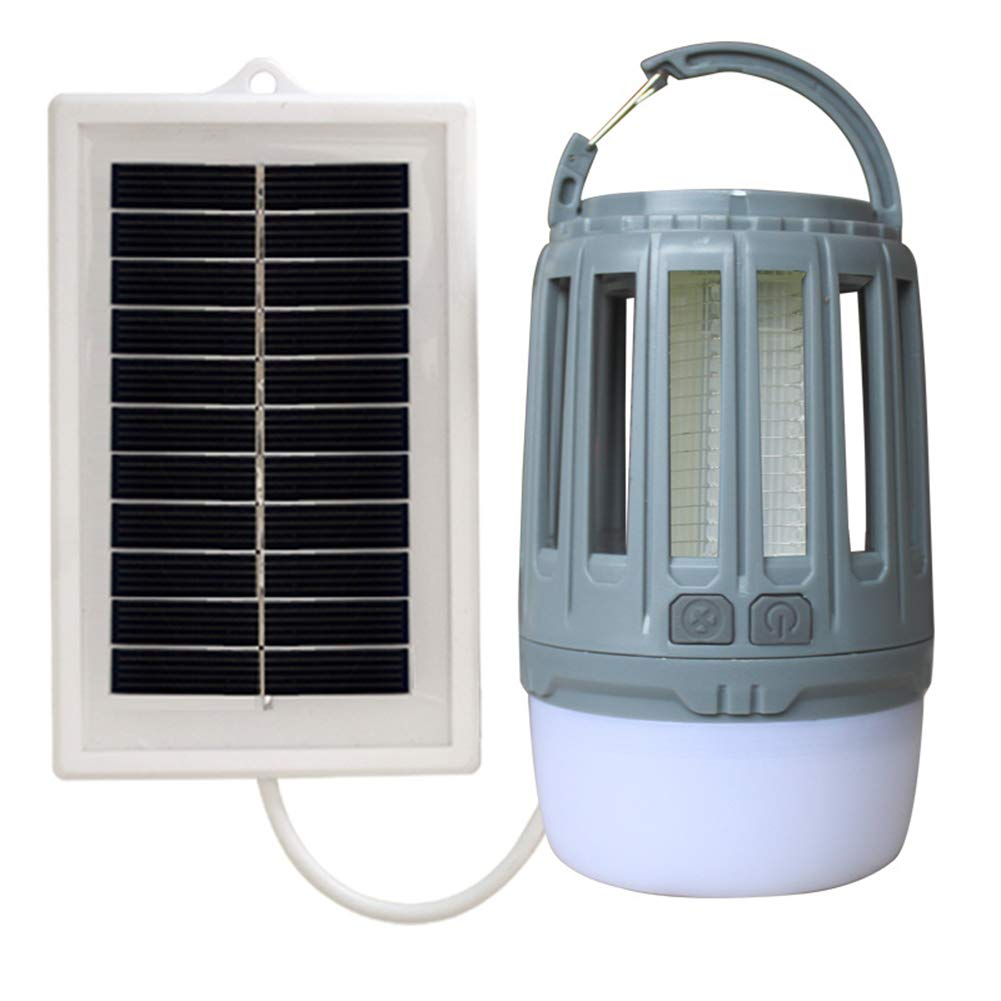 B Solar Energy Waterproof Rechargeable Mosquito Killer, Bug Zapper & LED Camping Lantern, Portable Compact Camping Gear for Outdoors,B
