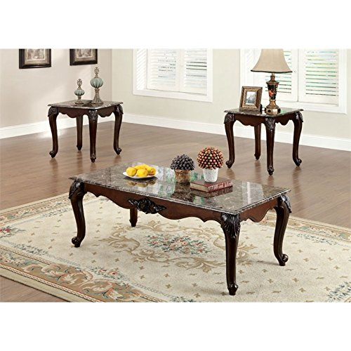 Cherry Finish Marble Coffee Table (Furniture of America Margaux 3-Piece French Style Accent Table Set with Faux Marble Tops, Dark Cherry Finish)