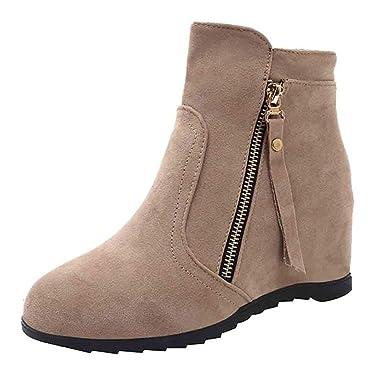 POLP Botas Altas Mujer Botas Altas cuña Mujer Cuña Plataforma Zapatos con Tacon Alto para Mujer