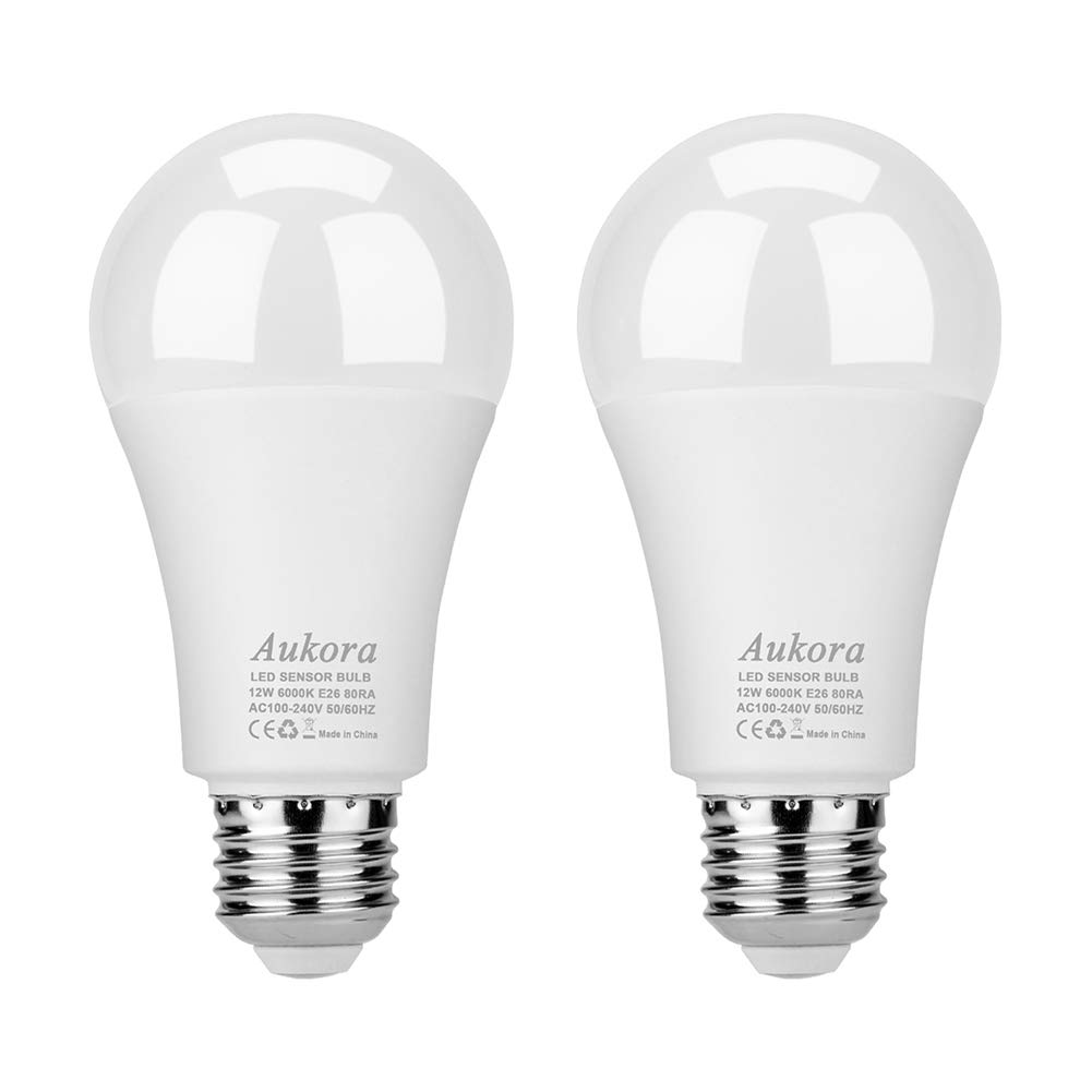 Aukora Dusk to Dawn Light Bulbs, 12W (100-Watt Equivalent) Smart Sensor Light Bulbs Super Bright E26 Automatic On/Off Security Lights Outdoor/Indoor for Porch Garage Garden Patio(Cool White 2 Pack)