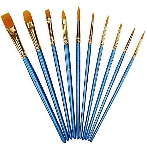 Xubox Pointed-Round Paintbrush Set, 10 Pieces Round Pointed Tip Nylon Hair Artist Detail Paint Brushes Set for Fine Detailing & Art Painting, Acrylic Watercolor Oil, Nail Art, Miniature Painting, Blue ()