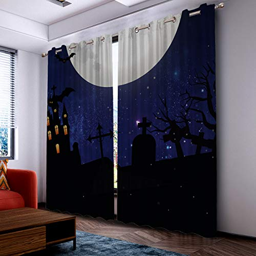 Prime Leader Curtains for Living Room- Darkening Thermal Insulated Window Treatment Curtains, with Grommet Home Decor Halloween Castle Tomb with Starry Sky (2 Panels, 52 x 90 Inch Each Panel) ()