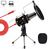TONOR PC Microphone Computer Condenser Studio Mic Plug & Play with Tripod Stand & Pop Filter for Chatting/Skype/Youtube/Recording/Gaming/Podcasting for iMAC PC Laptop Desktop Windows Computer