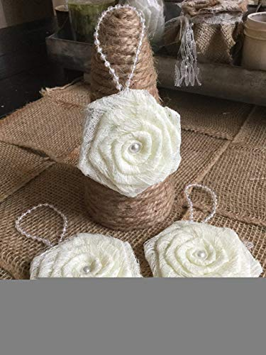 Set of 3 Ivory Lace Flower Hanging Christmas Ornament Tree Wreath Table Package Decoration Holiday Party Twig Tree Ornament