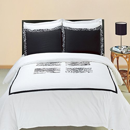 Burbank Duvet Cover Set with Pillow Shams – Embroidery Pattern, 100% Cotton – Durable Comforter - Burbank Stores