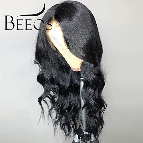 (BEEOS 360 Lace Frontal Wigs Human Hair with Baby Hair, Pre Plucked and Bleached Knots Body Wave Brazilian Remy Hair Wigs Natural Hairline (14 inch))