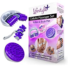 3-PIECE Anti-Cellulite Massager Set w/ Cellulite Roller, Brush Mitt, and Hand Roller for Cellulite Treatment and Reduction - Remove Toxins, Increase Circulation, Tighten & Tone the Skin