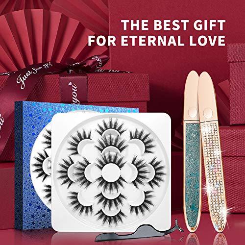 Magnetic Eyelashes with Eyeliner Set, 3D False Eyelashes Faux Mink Lashes Pack Dramatic Eye Lashes Fluffy Reusable—Luxury Packaging