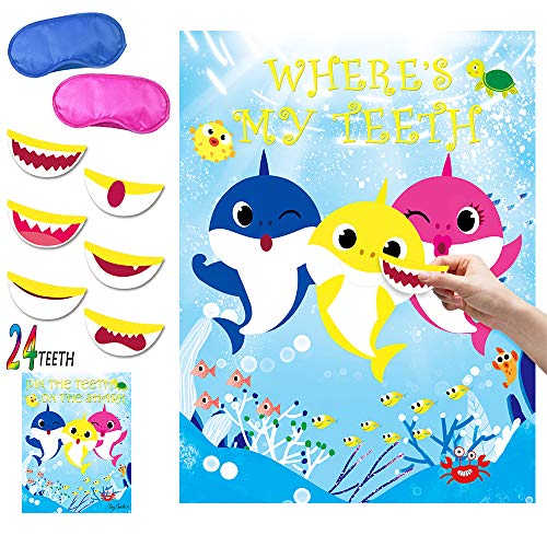 Discover Bargain Shark Party Game Pin the Teeth on Shark Party Favors Games for Kids Shark Theme Birthday Baby Shower Ocean Party Supplies -24 Teeth