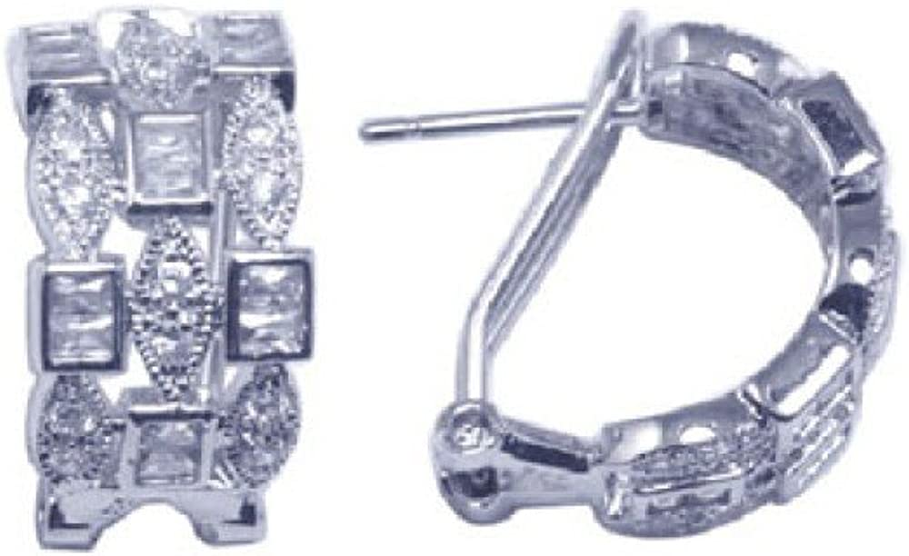 Clear Square And Marquise Cubic Zirconia Alternating Earrings Rhodium Plated Sterling Silver
