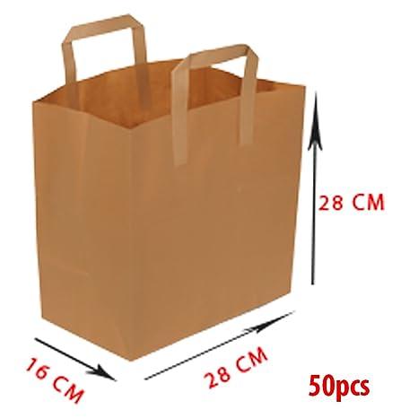Bolsa de papel de asa plana, 28 x 16 x 28 cm, 70 gramos, 50 unidades, papel de estraza, marrón, no impreso, 100% reciclable